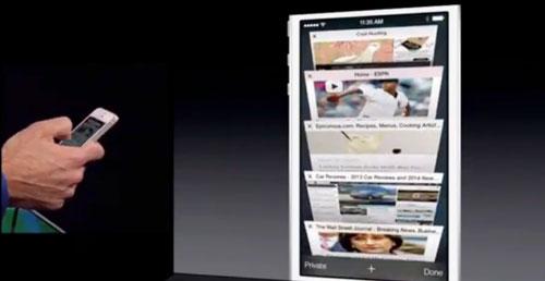 Мобильный Safari обрел также новую систему вкладок, которая отдаленно похожа на функцию Cover Flow